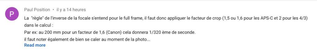 Commentaire sur la règle de l'inverse de la focale sur la chaine Youtube Formation-Photographe