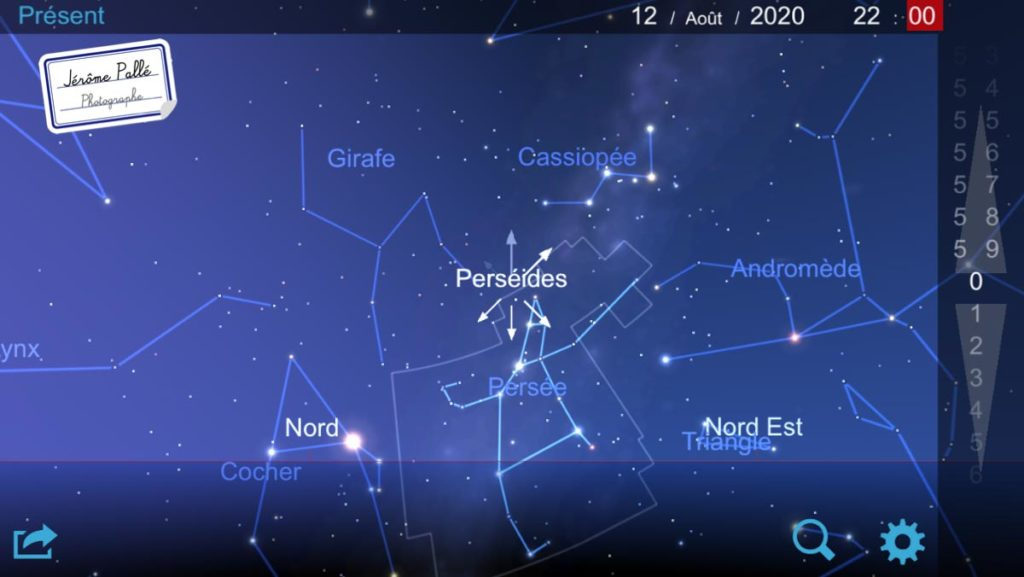 L'appli Carte du ciel permet de trouver la constellation de Persée pour photographier les étoiles filantes.